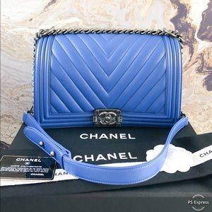 Chanel Chevron Quilted Medium Plus Boy Chain Bag